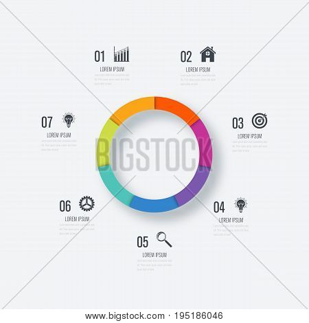 Infographics template 7 options with circles. Can be used for workflow layout, diagram, number options, step up options, web design, presentations