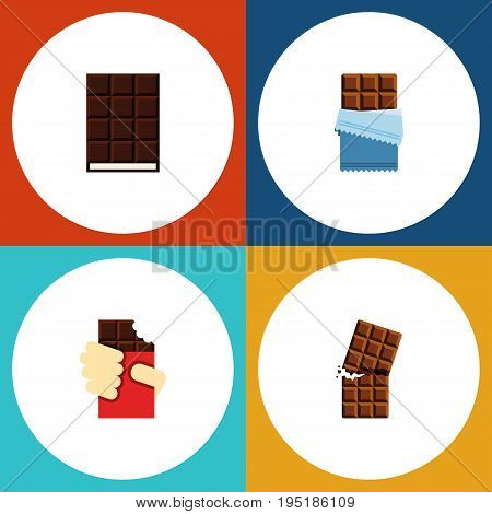 Flat Icon Cacao Set Of Shaped Box, Bitter, Wrapper And Other Vector Objects. Also Includes Dessert, Shaped, Chocolate Elements.