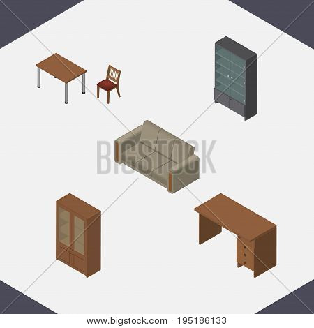 Isometric Furniture Set Of Sideboard, Chair, Cabinet And Other Vector Objects. Also Includes Settee, Cabinet, Desk Elements.