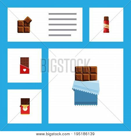 Flat Icon Chocolate Set Of Cocoa, Sweet, Bitter And Other Vector Objects. Also Includes Box, Sweet, Shaped Elements.