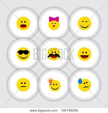 Flat Icon Expression Set Of Tears, Wonder, Laugh And Other Vector Objects. Also Includes Happy, Whiskers, Idea Elements.
