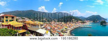 Panoramic banner view of Parga greek sea resort town at Ionian sea, Greece