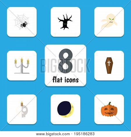Flat Icon Halloween Set Of Gourd, Candlestick, Ghost Vector Objects. Also Includes Phantom, Spider, Ghost Elements.
