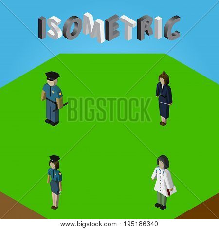Isometric Person Set Of Businesswoman, Officer, Policewoman And Other Vector Objects. Also Includes Doctor, Officer, Lady Elements.