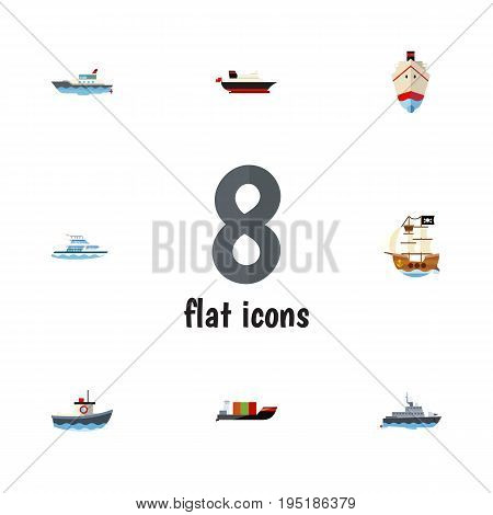 Flat Icon Boat Set Of Tanker, Ship, Delivery And Other Vector Objects. Also Includes Vessel, Shipping, Boat Elements.