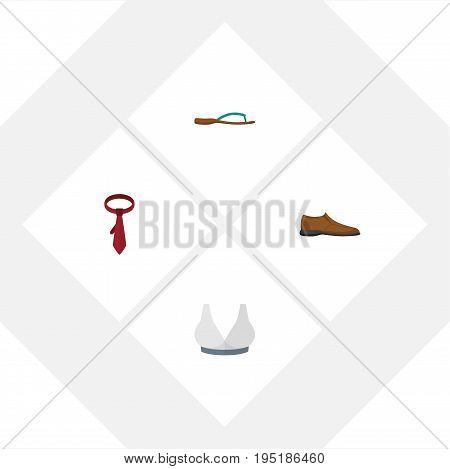 Flat Icon Dress Set Of Male Footware, Brasserie, Cravat And Other Vector Objects. Also Includes Shoe, Flip, Flop Elements.