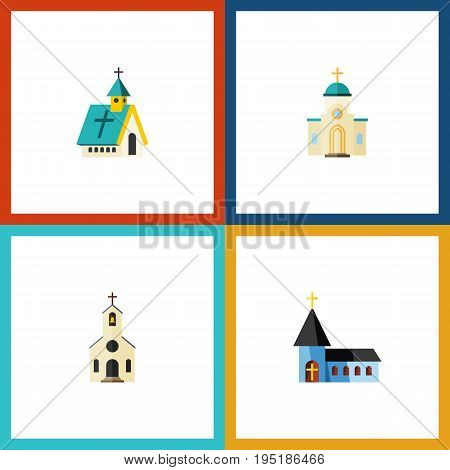 Flat Icon Building Set Of Religious, Christian, Building And Other Vector Objects. Also Includes Religious, Architecture, Catholic Elements.