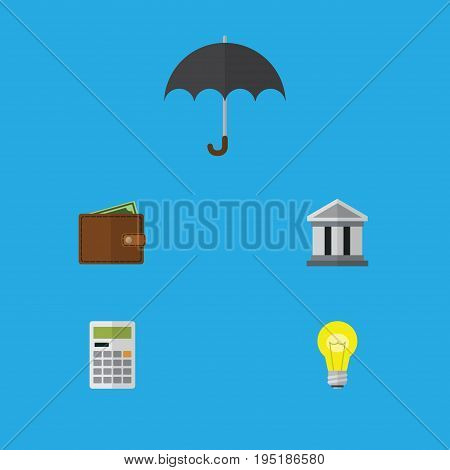 Flat Icon Incoming Set Of Billfold, Parasol, Bubl And Other Vector Objects. Also Includes Umbrella, Pocketbook, Light Elements.