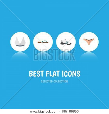 Flat Icon Clothes Set Of Beach Sandal, Sneakers, Brasserie Vector Objects. Also Includes Shoes, Sport, Panties Elements.