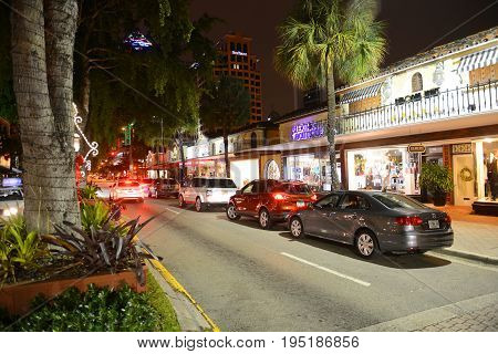 FORT LAUDERDALE, FL, USA - DEC. 25, 2014: Las Olas Boulevard at night, Fort Lauderdale, Florida, USA.