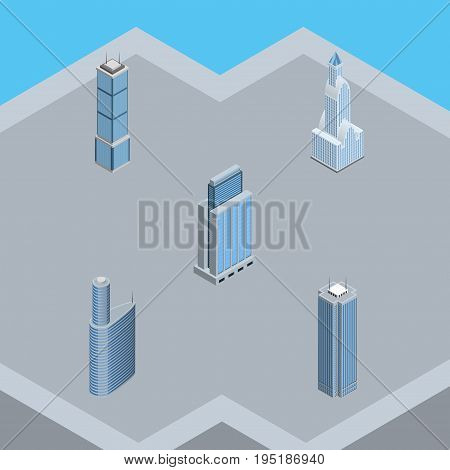 Isometric Construction Set Of Skyscraper, Building, Cityscape And Other Vector Objects. Also Includes Building, Residential, Skyscraper Elements.