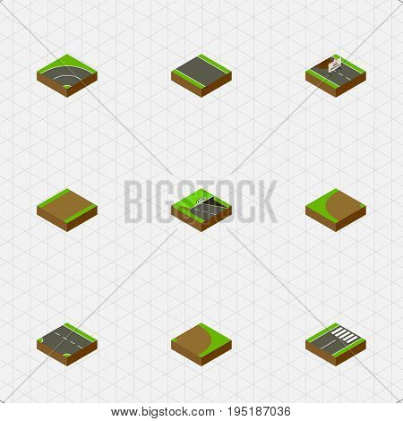 Isometric Way Set Of Bitumen, Footpath, Footer And Other Vector Objects. Also Includes Turning, Pedestrian, Repairs Elements.