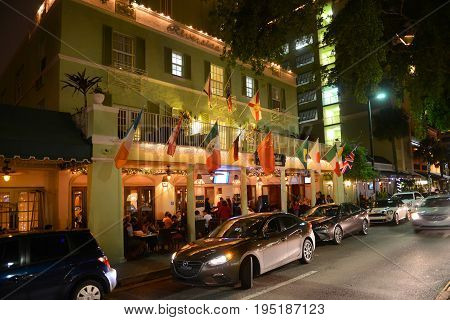 FORT LAUDERDALE, FL, USA - DEC. 25, 2014: Riverside Hotel on Las Olas Boulevard at night, Fort Lauderdale, Florida, USA.