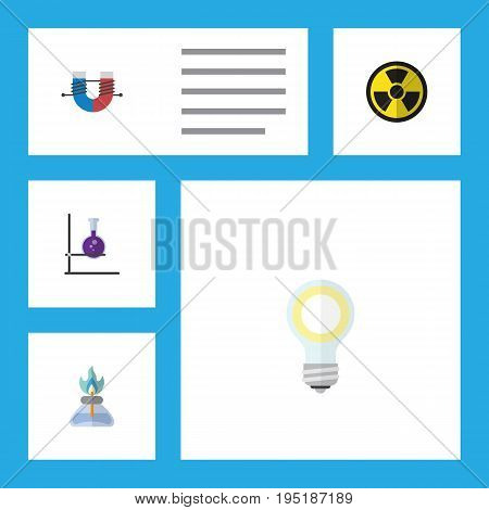 Flat Icon Science Set Of Flask, Irradiation, Attractive Force And Other Vector Objects. Also Includes Gas, Attractive, Test Elements.