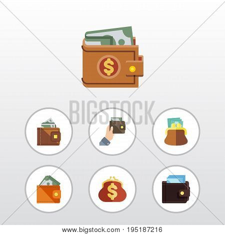 Flat Icon Purse Set Of Billfold, Pouch, Wallet And Other Vector Objects. Also Includes Billfold, Cash, Wallet Elements.
