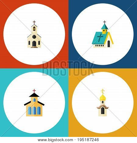 Flat Icon Church Set Of Building, Architecture, Structure And Other Vector Objects. Also Includes Building, Architecture, Structure Elements.