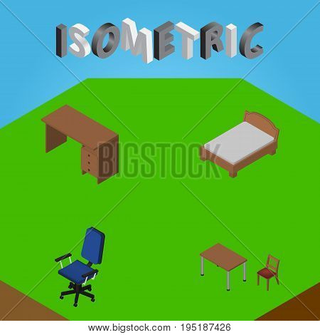 Isometric Furniture Set Of Office, Table, Bedstead And Other Vector Objects. Also Includes Armchair, Office, Furniture Elements.