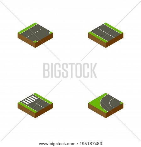 Isometric Way Set Of Way, Strip, Down And Other Vector Objects. Also Includes Asphalt, Plane, Pedestrian Elements.