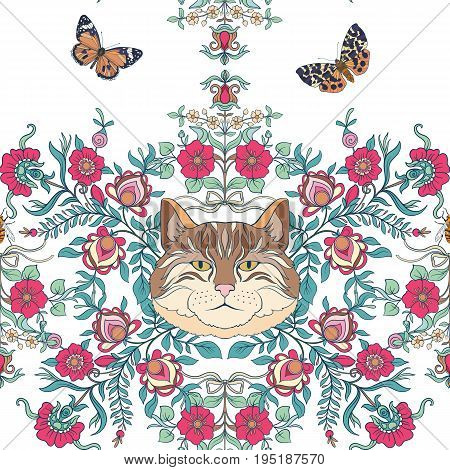 Seamless pattern, background with vintage style flowers and cats and butterflies in pink and green colors. Stock line vector illustration.