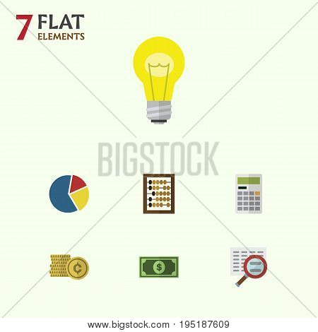 Flat Icon Finance Set Of Calculate, Bubl, Cash And Other Vector Objects. Also Includes Greenback, Search, Shiner Elements.