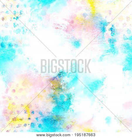 A seamless artistic pink and teal blue repeat print with brush strokes, a square background with a place for text