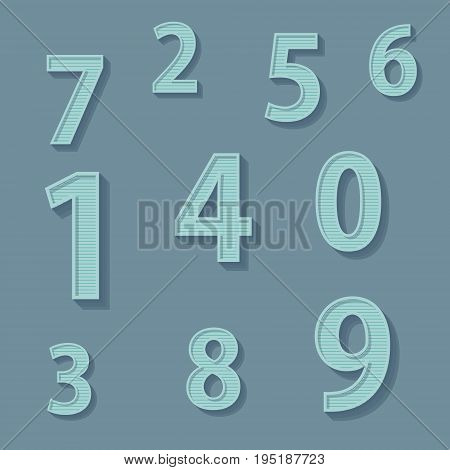 Vector illustration. Set of digits in retro style