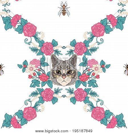 Seamless pattern, background with vintage style flowers and cats and bees in pink and green colors. Stock line vector illustration.