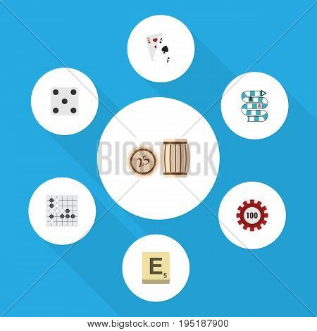 Flat Icon Entertainment Set Of Ace, Backgammon, Mahjong And Other Vector Objects. Also Includes Cards, Multiplayer, Lottery Elements.