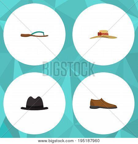 Flat Icon Dress Set Of Elegant Headgear, Male Footware, Beach Sandal Vector Objects. Also Includes Fedora, Hat, Flip Elements.