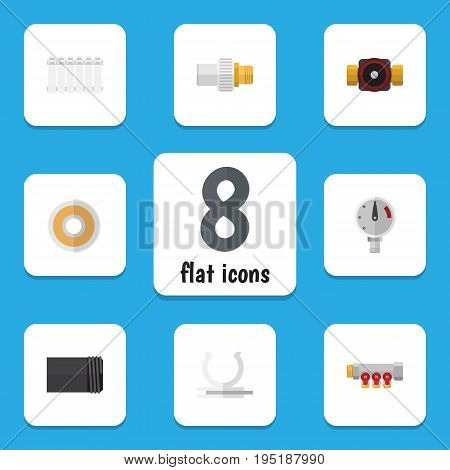 Flat Icon Plumbing Set Of Industry, Tap, Pipework And Other Vector Objects. Also Includes Heater, Water, Roll Elements.