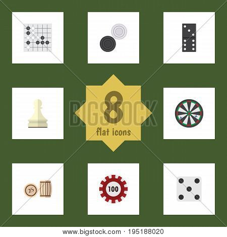 Flat Icon Games Set Of Chequer, Lottery, Pawn And Other Vector Objects. Also Includes Gomoku, Pawn, Chip Elements.