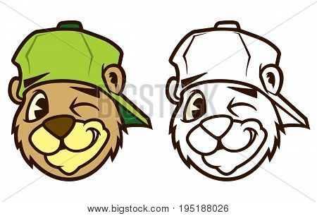 Cool brown cartoon hip hop bear character with cap. Emotion: winking. Vector clip art illustration