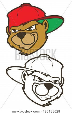 Cool brown cartoon hip hop bear character with cap. Vector clip art illustration