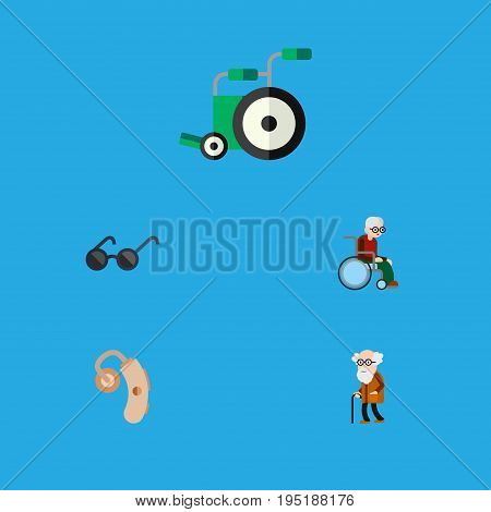 Flat Icon Cripple Set Of Spectacles, Audiology, Equipment And Other Vector Objects. Also Includes Handicapped, Hearing, Equipment Elements.