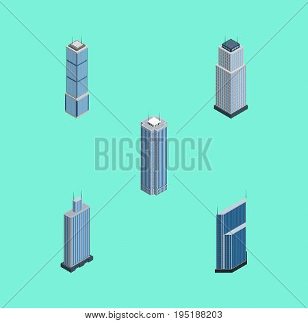 Isometric Skyscraper Set Of Business Center, Residential, Skyscraper And Other Vector Objects. Also Includes Skyscraper, Center, Tower Elements.