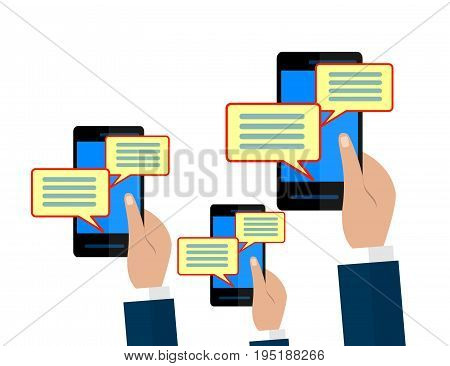 Chat message notifications concept. Hands holding smartphones isolated on white background. Flat illustration.