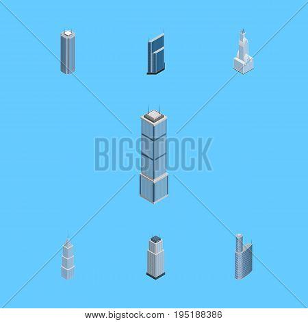Isometric Building Set Of Cityscape, Apartment, Residential And Other Vector Objects. Also Includes Residential, Tower, Exterior Elements.