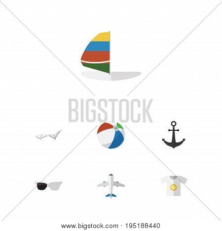 Flat Icon Beach Set Of Aircraft, Deck Chair, Ship Hook And Other Vector Objects. Also Includes Surfing, Sea, Shirt Elements.