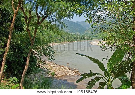 View of river in Nepal in the nice weather