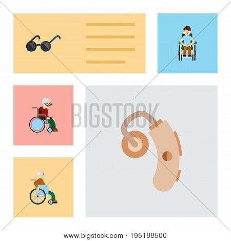 Flat Icon Disabled Set Of Spectacles, Audiology, Handicapped Man Vector Objects. Also Includes Audiology, Sunglasses, Hearing Elements.