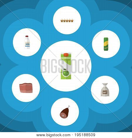 Flat Icon Meal Set Of Beef, Packet Beverage, Spaghetti And Other Vector Objects. Also Includes Milk, Eggshell, Beef Elements.