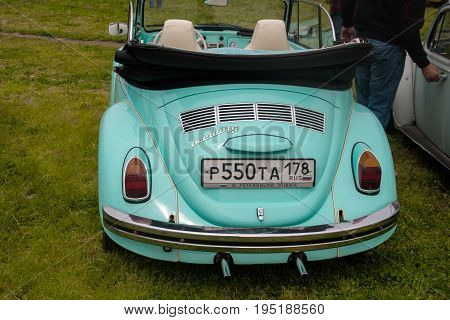Saint Petersburg Russia - July 08 2017: Festival of old Volkswagen car Bughouse Fest 2017. Volskwagen beetle in the exhibition. Horizontal.