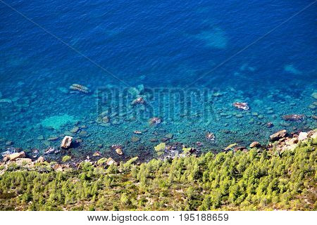 Bright blue waters of Cassis on the French Riviera