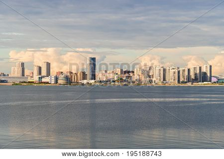 Beautiful cityscape with Tall buildings on the waterfront.