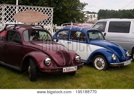 Saint Petersburg Russia - July 08 2017: Festival of old Volkswagen car Bughouse Fest 2017 . Several Volskwagen beetle in the exhibition. Horizontal.
