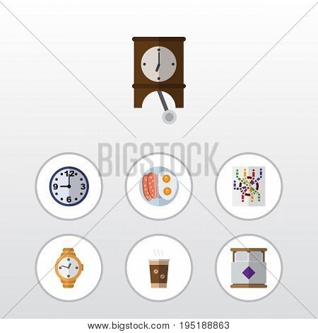 Flat Icon Lifestyle Set Of Cappuccino, Mattress, Router And Other Vector Objects. Also Includes Subway, Cappuccino, Mattress Elements.