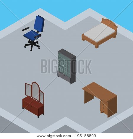 Isometric Design Set Of Sideboard, Table, Office And Other Vector Objects. Also Includes Desk, Sideboard, Furniture Elements.