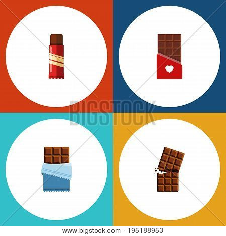 Flat Icon Bitter Set Of Chocolate, Bitter, Wrapper And Other Vector Objects. Also Includes Bitter, Sweet, Shaped Elements.