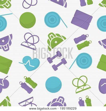 Fitnes inventory color  icons. Vector seamless background.