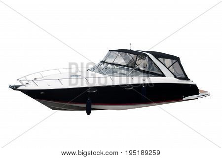The image of motor boats isolated on a white background. Horizontal.
